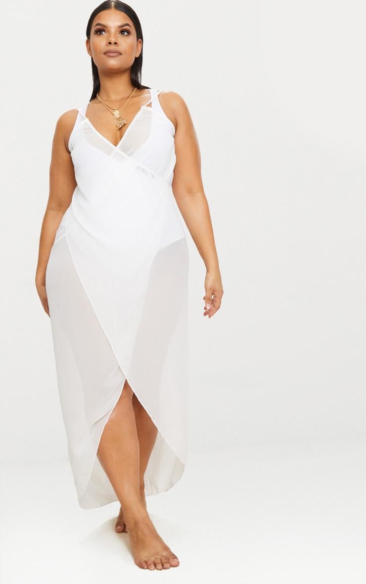4511d9354d Plus White Wrap Detail Chiffon Beach Cover Up Dress image 1