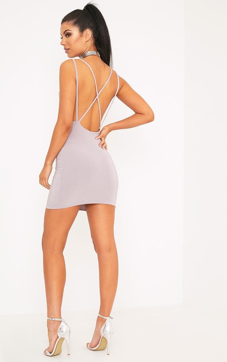 Eleonora Lilac Grey Strappy Back Cowl Neck Bodycon Dress 4