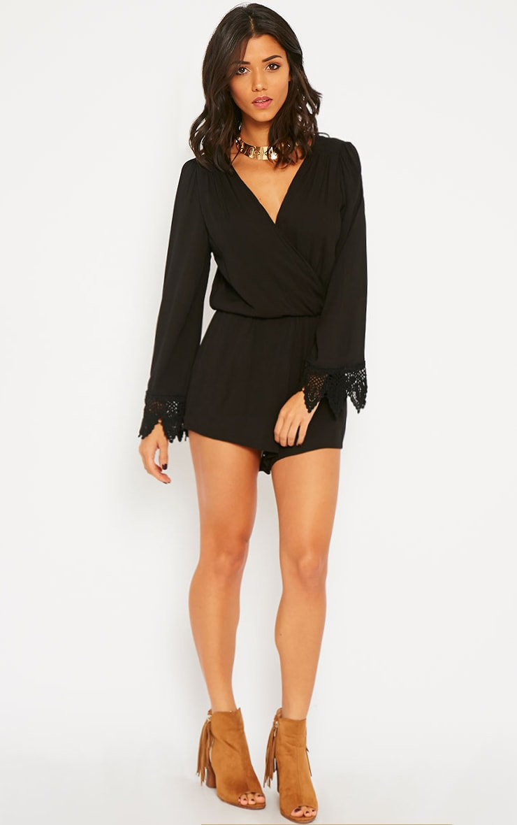 Marketta Black Wrap Front Embroidered Cuff Playsuit 3