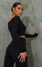 Black Slinky Ruched Front Long Sleeve Crop Top  2