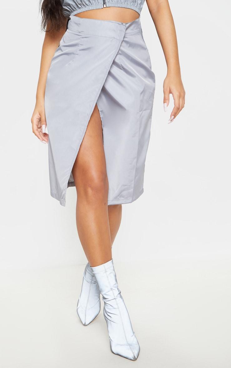 Grey Wrap Over Shell Midi Skirt 2