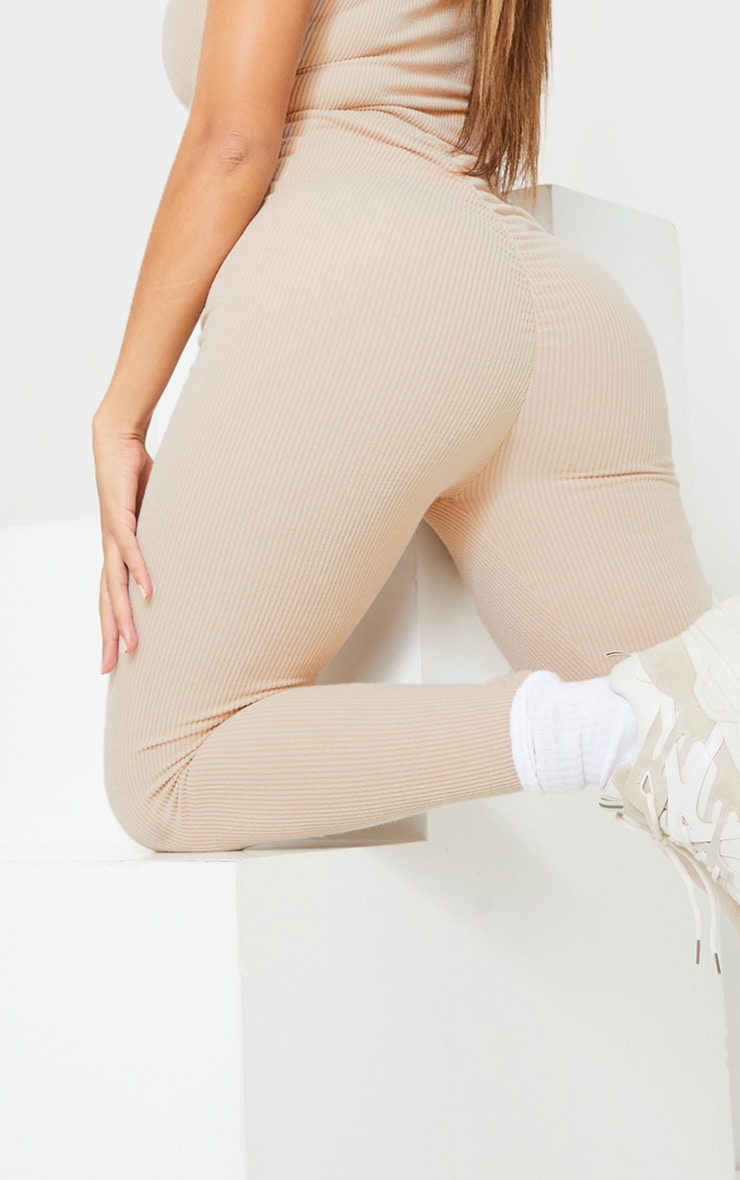 Shape Stone Textured Rib Ruched Bum Leggings 4