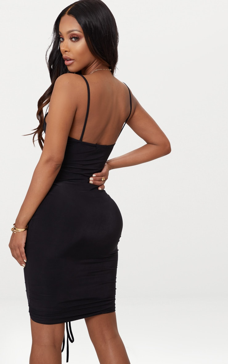 Shape Black Slinky Ruched Strappy Midi Dress 2