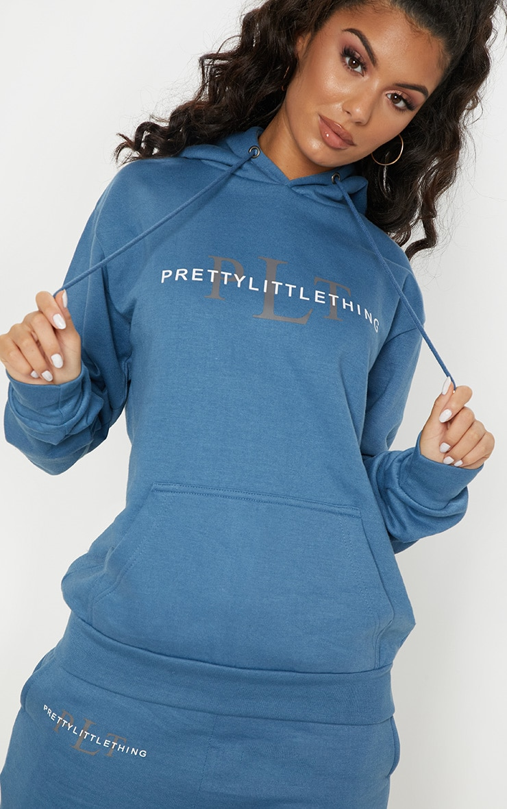 Prettylittlething Dusty Blue Printed Oversized Hoodie by Prettylittlething
