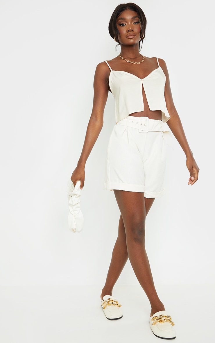 Tall Champagne Button Detail Split Front Strappy Crop Top 3