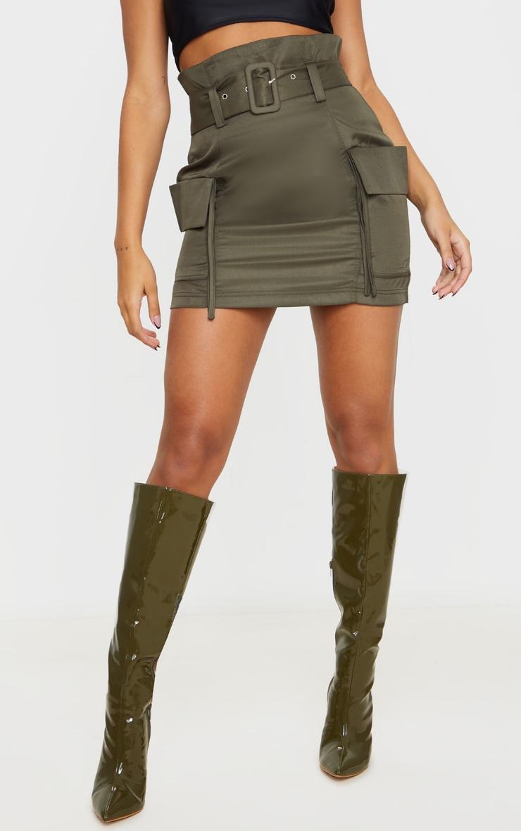 Khaki Belted Pocket Detail Cargo Mini Skirt 2