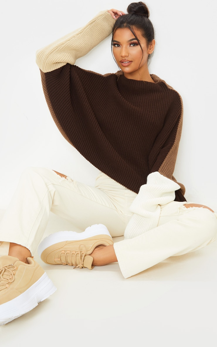 Brown Oversized Colour Block Sweater  4