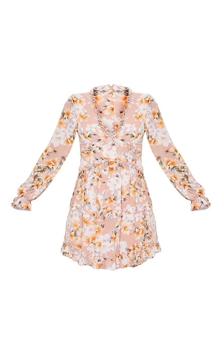Peach Floral Frill Smock Dress 5