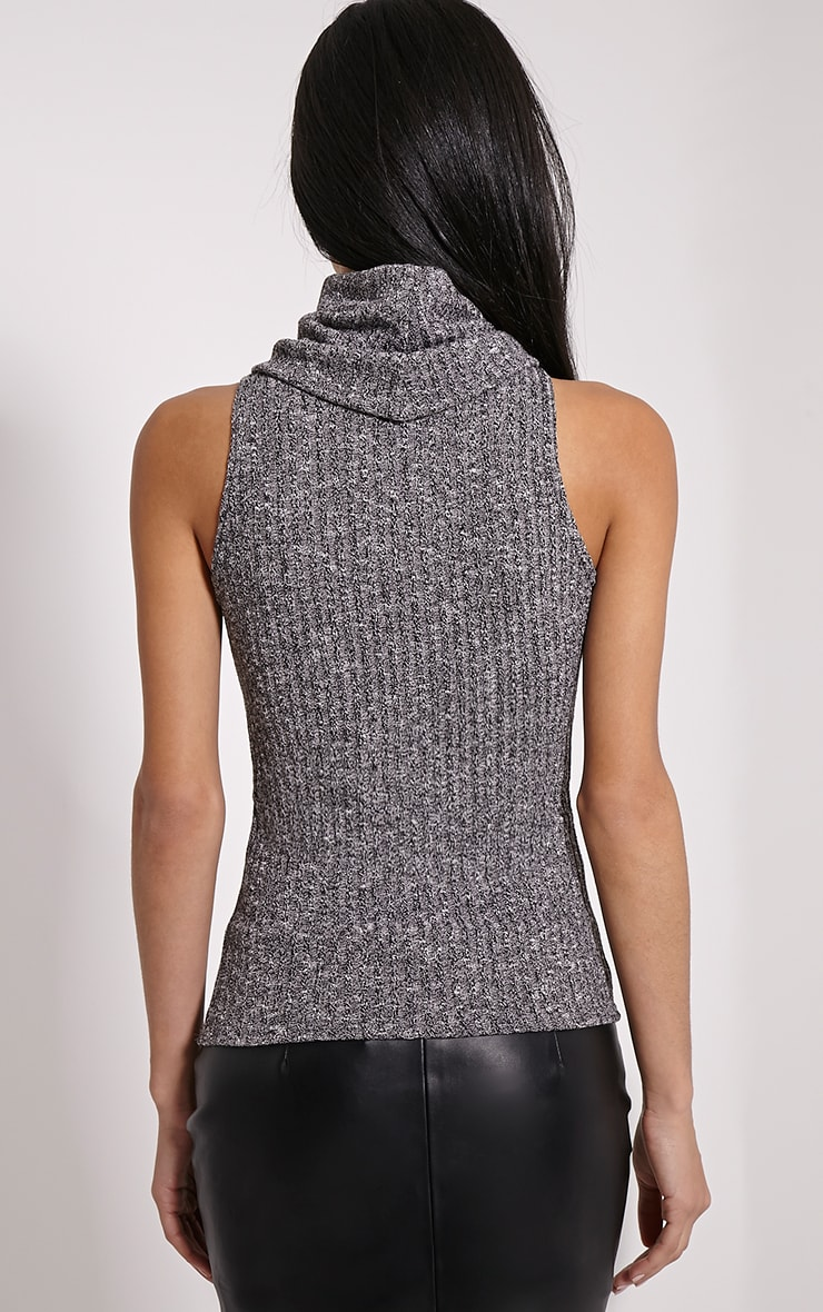 Mandie Marl Grey Roll Neck Sleeveless Knitted Top 2