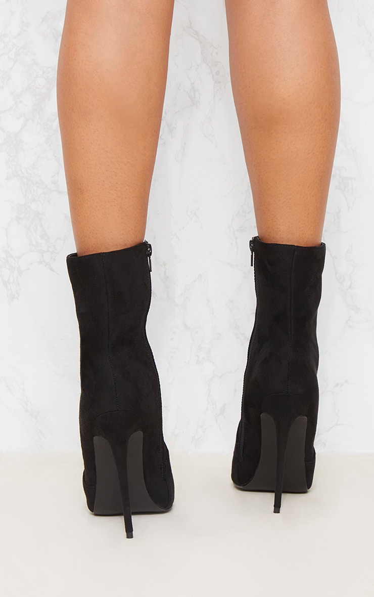 Black Faux Suede High Ankle Boot 5