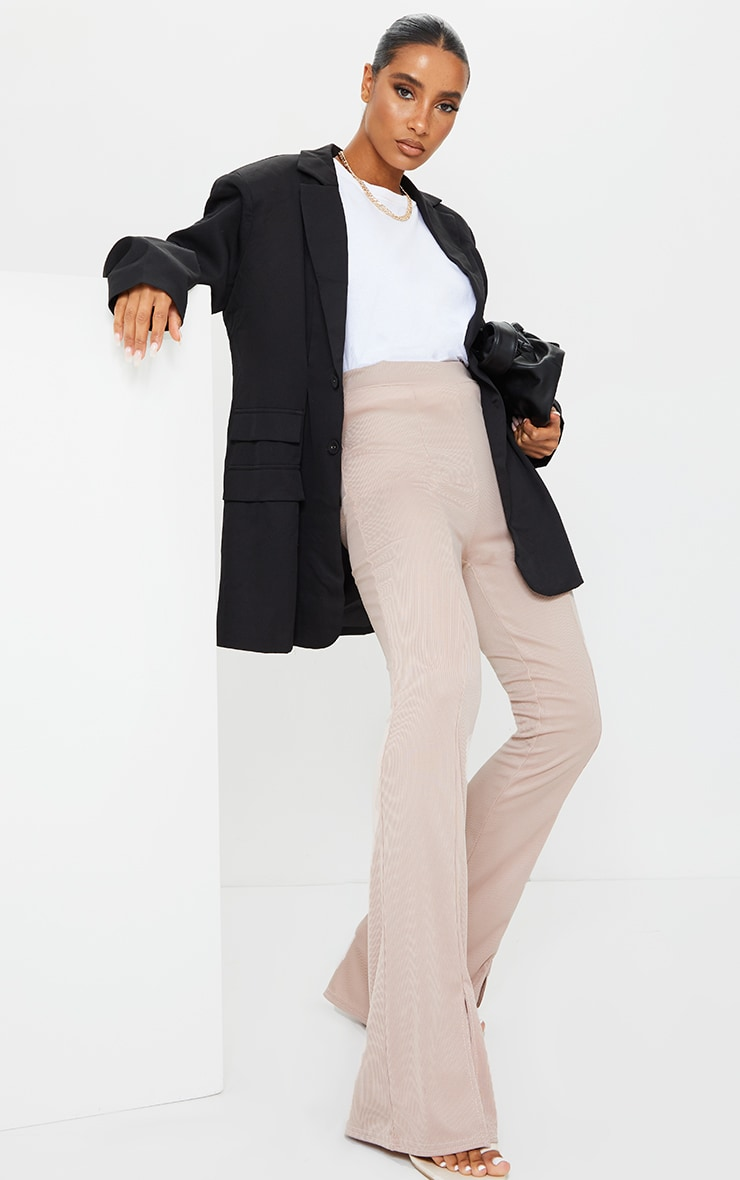 Taupe Rib Split Hem Flared Pants 1