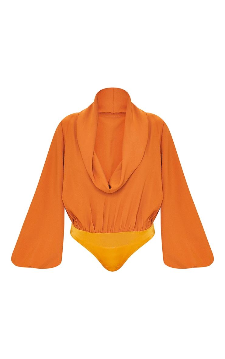 Burnt Orange Woven Cowl Neck Balloon Sleeve Bodysuit 5