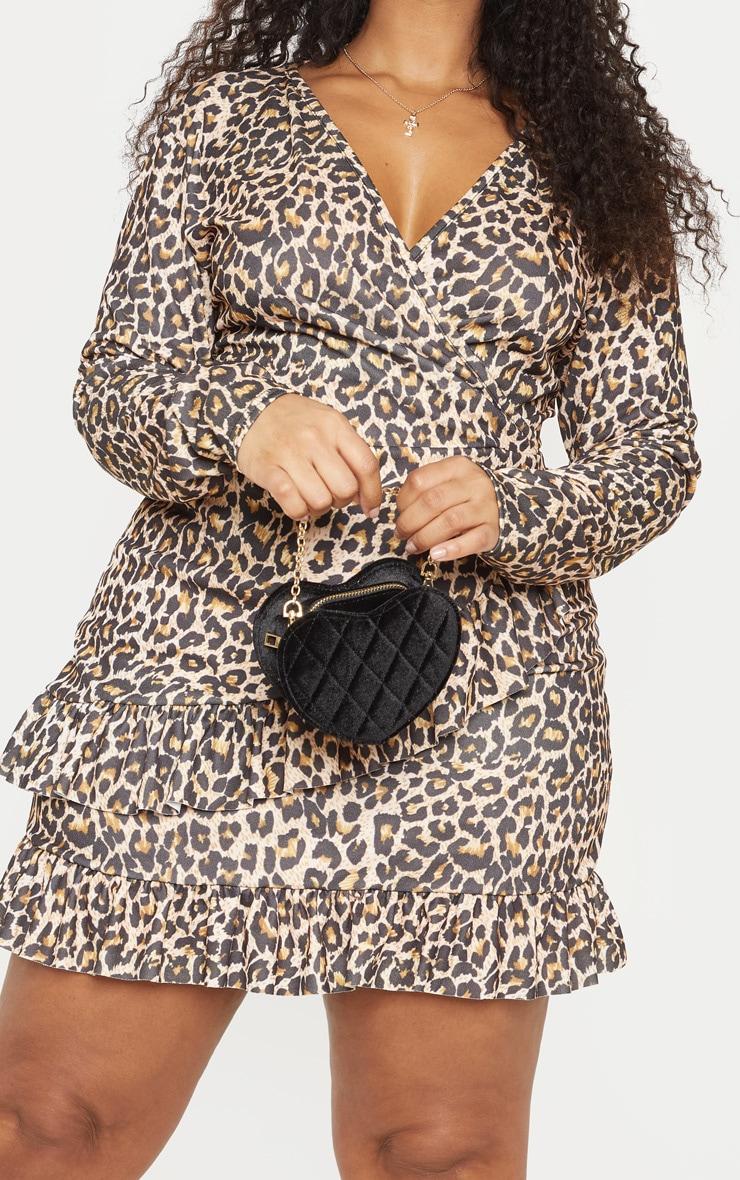 PLT Plus - Robe cache-coeur marron imprimé léopard 5