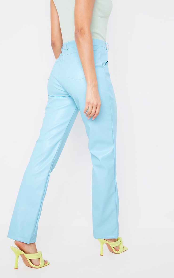 Baby Blue Faux Leather Straight Leg Pants 4