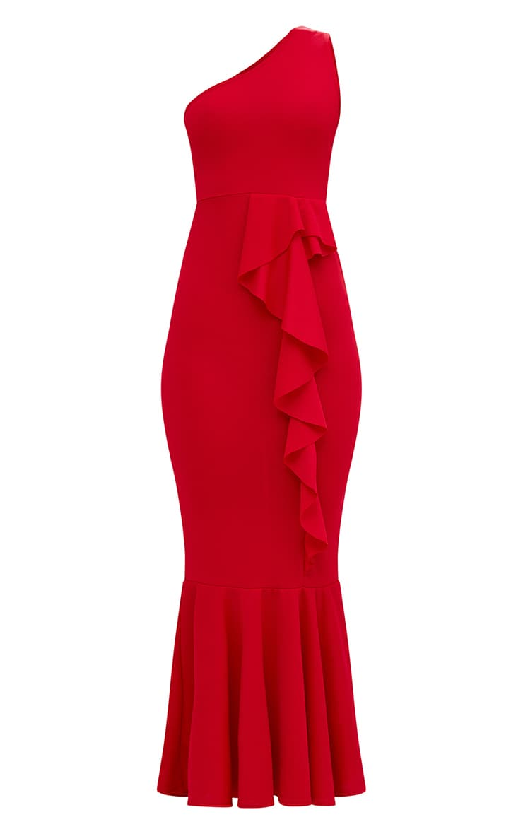 Red Ruffle Detail One Shoulder Midaxi Dress 3