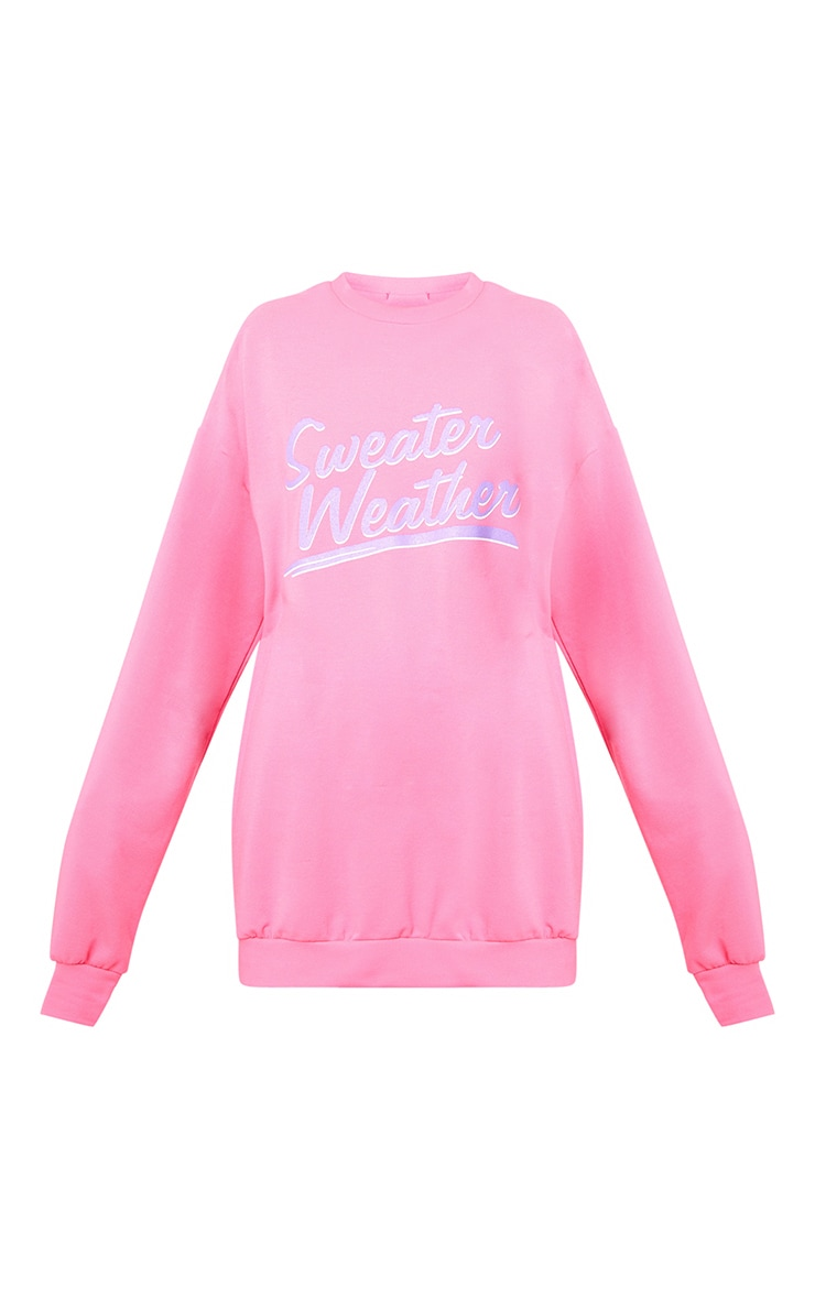Pink Sweater Weather Slogan Sweater 3