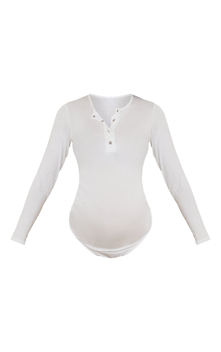 Maternity Cream Ruched Bump Bodysuit 5