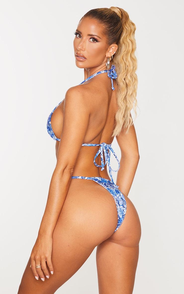 Blue Paisley Triangle Bikini Top 2