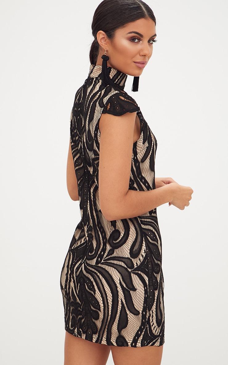 Black Lace Cap Sleeve Bodycon Dress 3