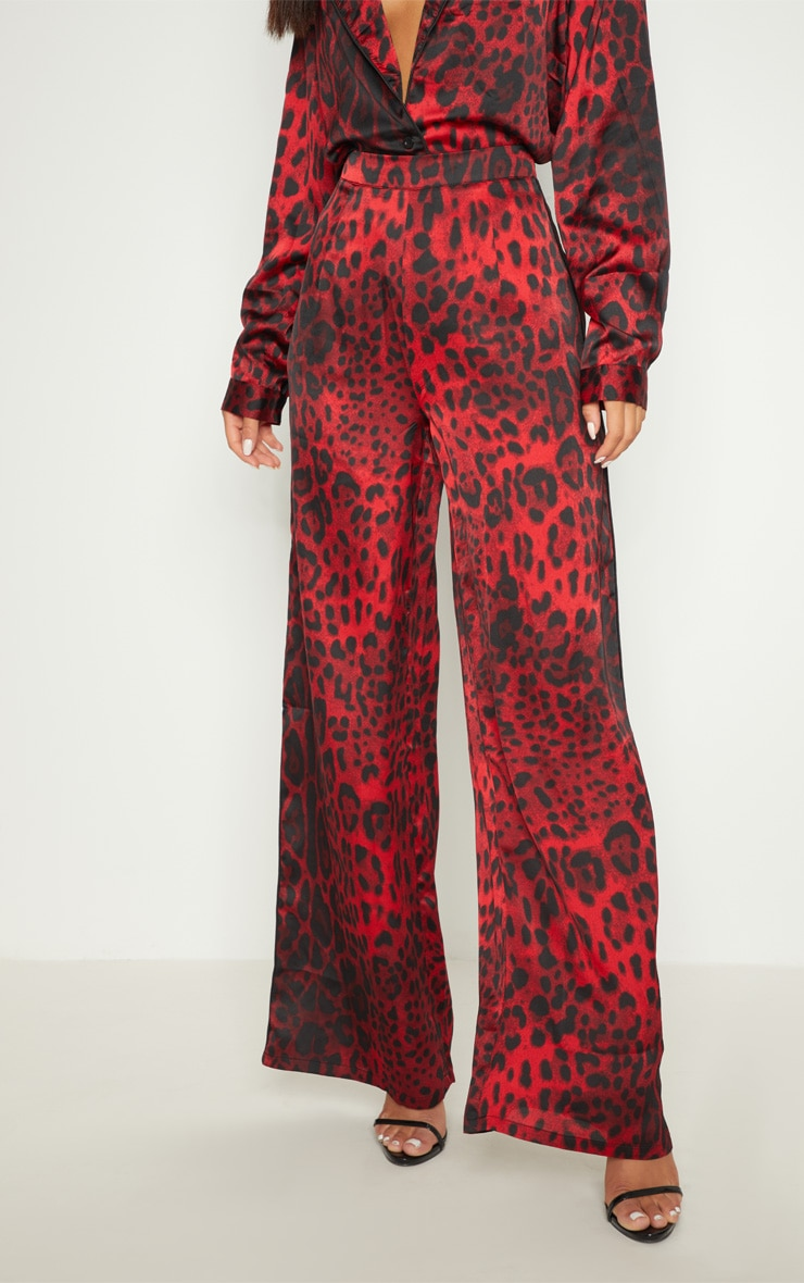 Red Satin Leopard Print Side Binding Wide Leg Trouser 2