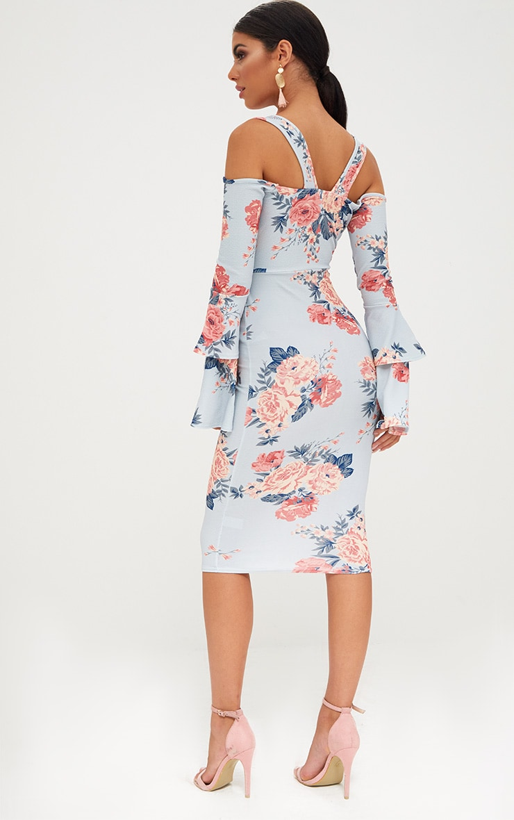 Ice Grey Floral Cold Shoulder Frill Sleeve Midi Dress 2