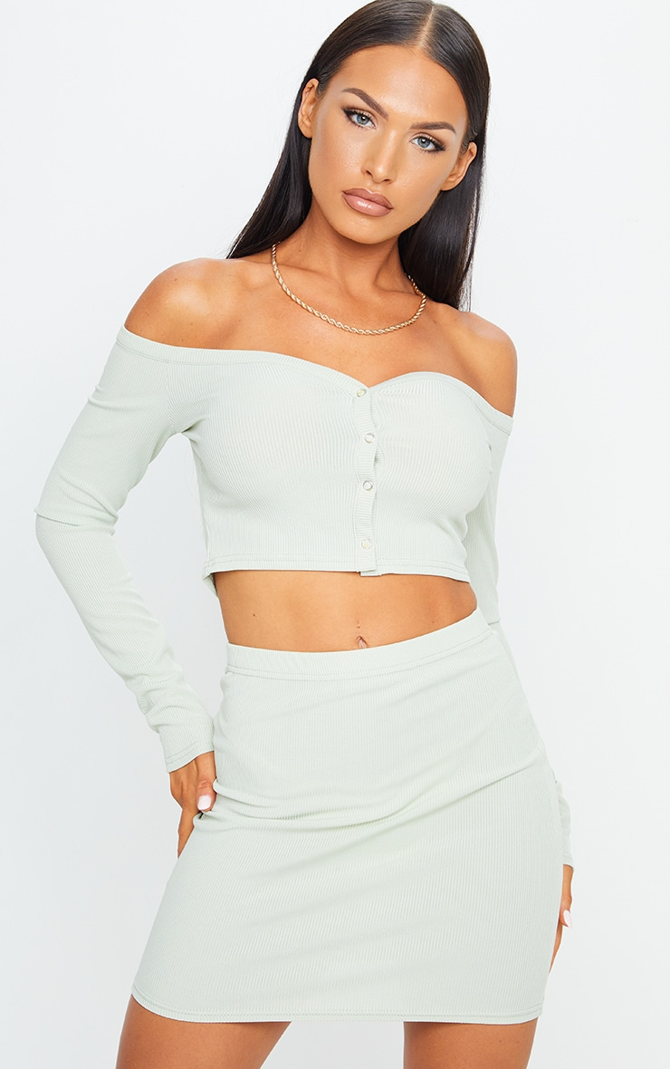 Sage Green Rib Popper Front Mini Skirt 4