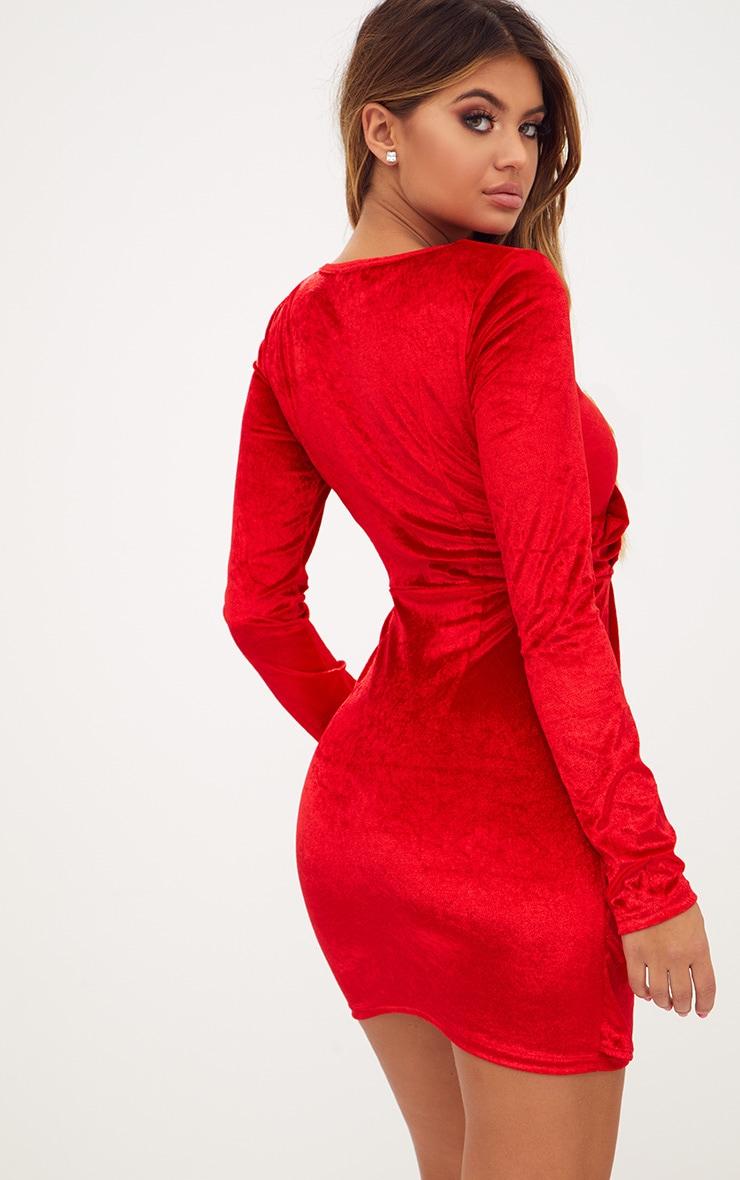Red Long Sleeved Velvet Wrap Detail Bodycon Dress 2