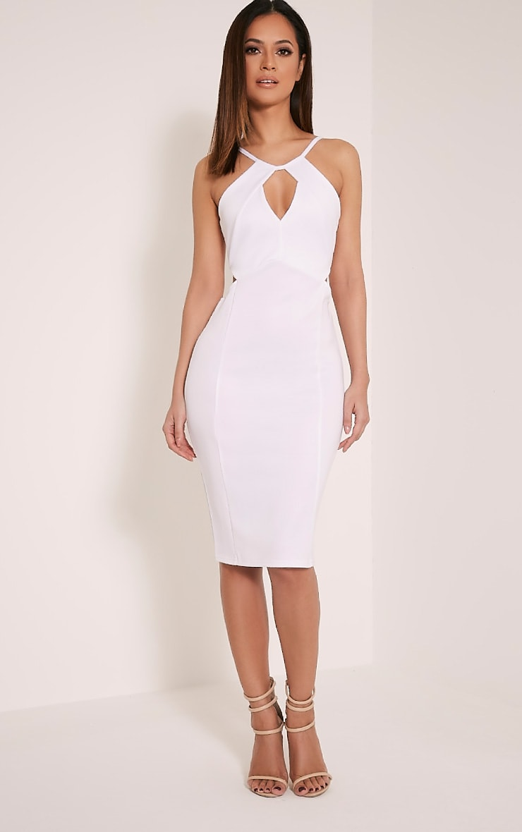 Terrie White Cut Out Detail Midi Dress 1