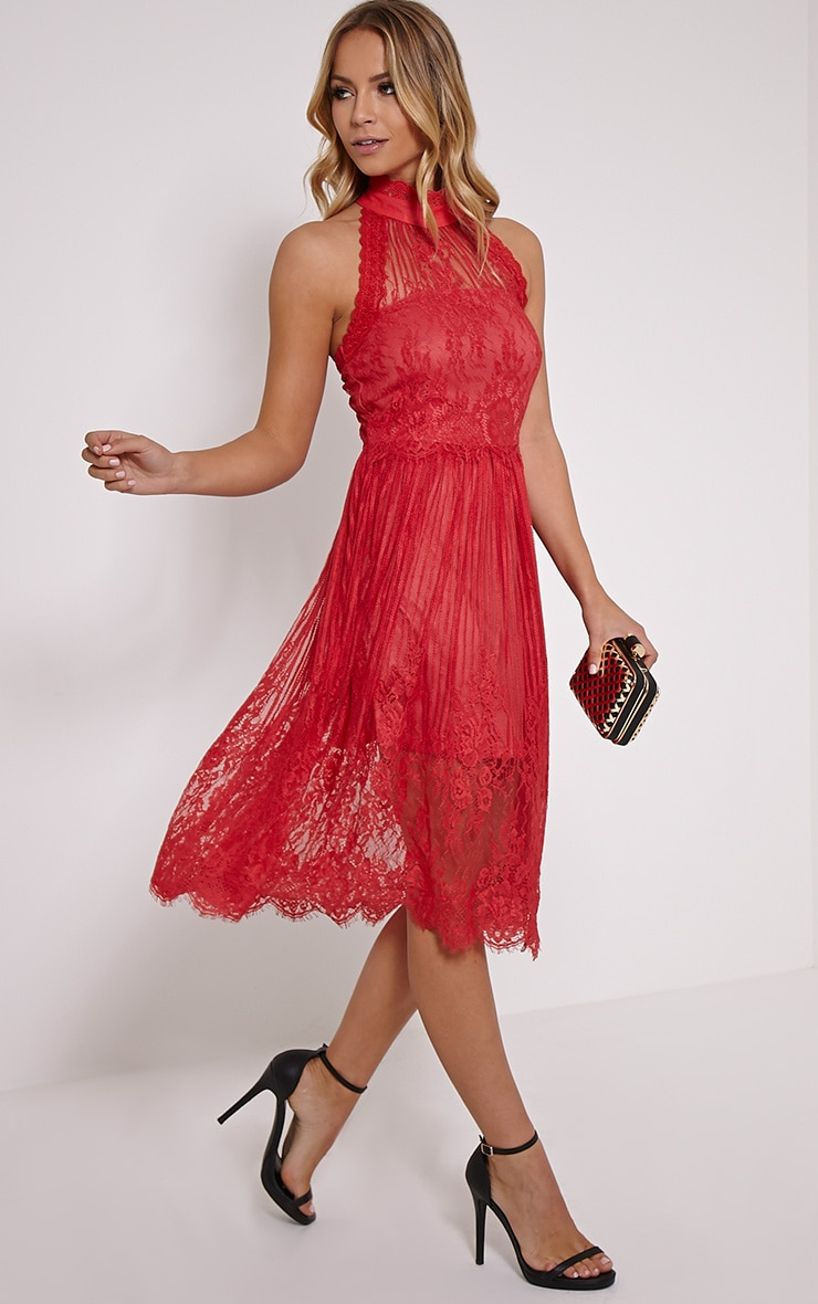 Shirl Red Racer Neck Lace Skater Dress 1