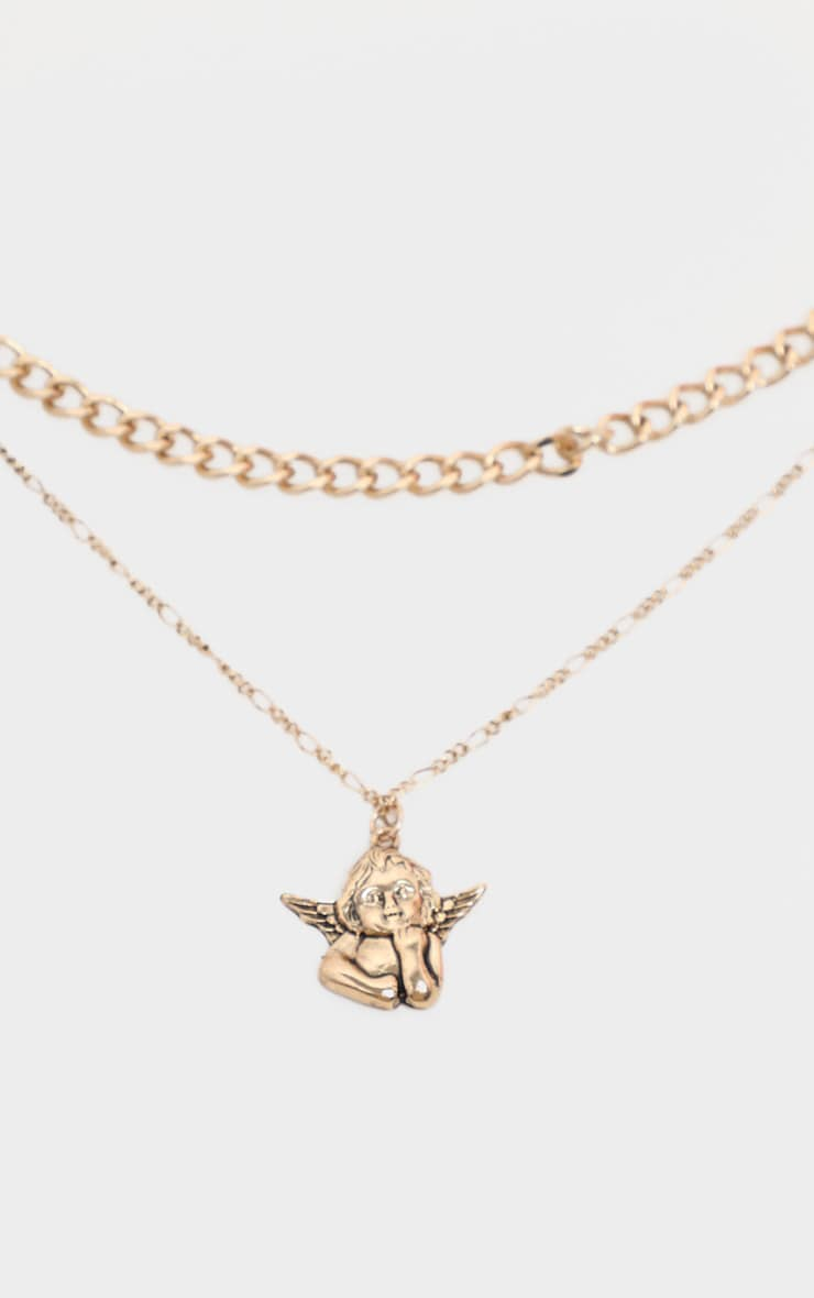 Gold Layering Chain Cherub Charm Necklace 1
