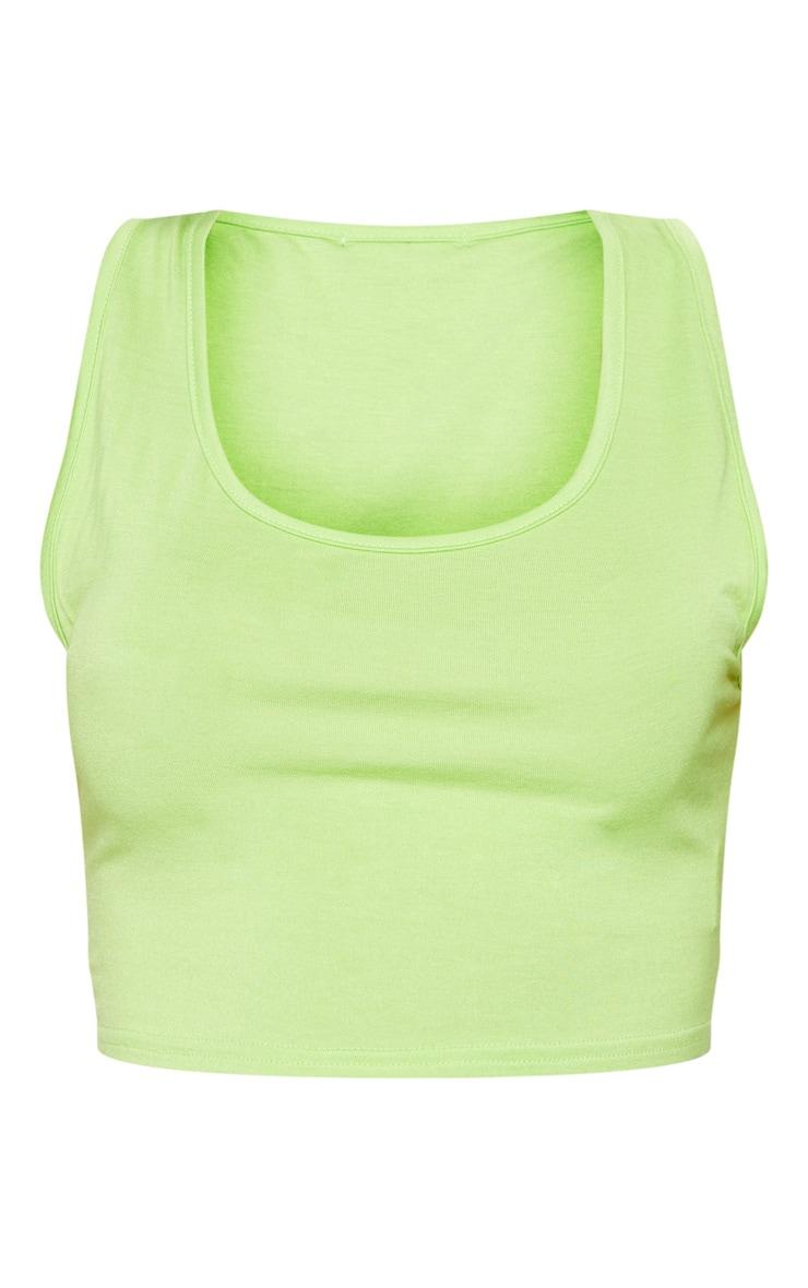 Lime Basic Jersey Scoop Neck Vest Top 3