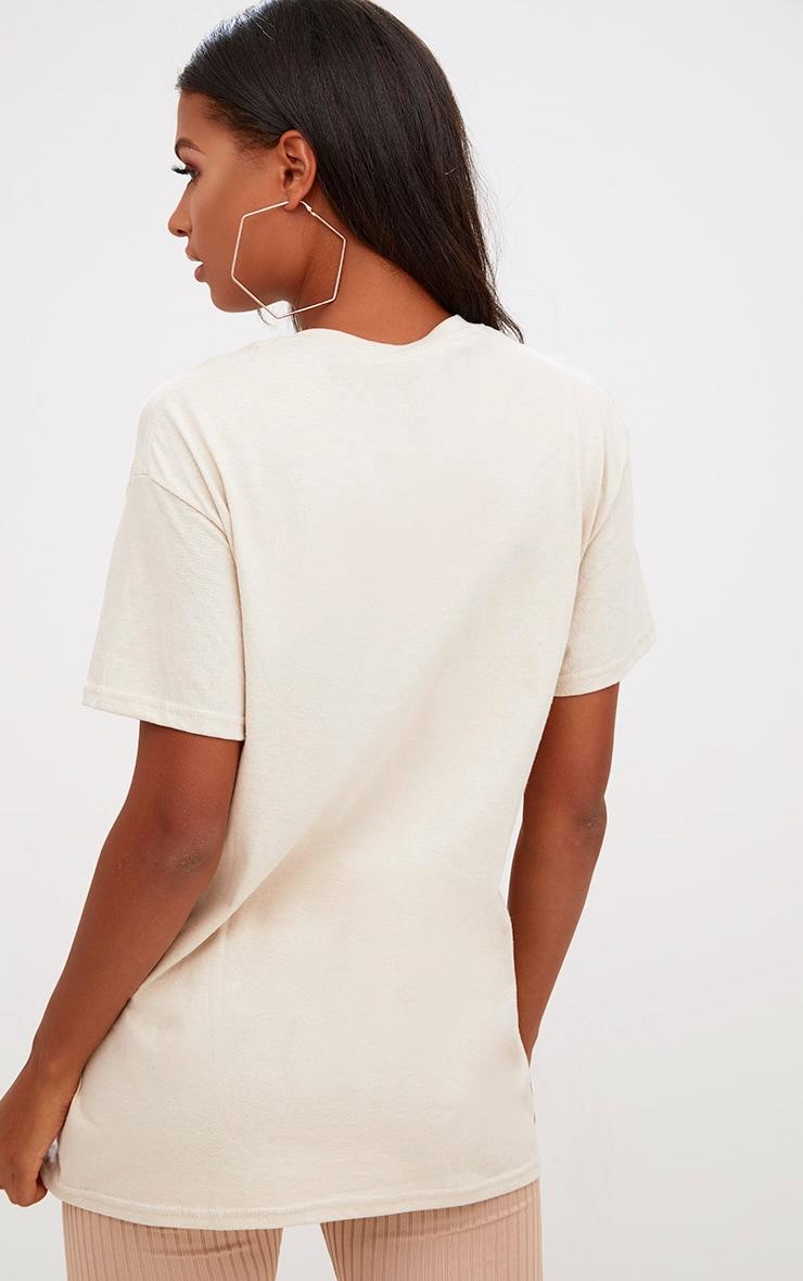 PRETTYLITTLETHING Sand Slogan Oversized T Shirt 3