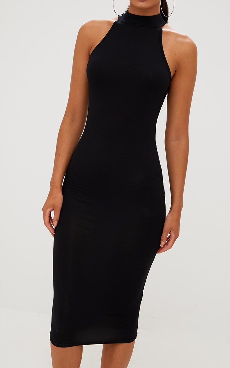 Black High Neck Midi Dress 4
