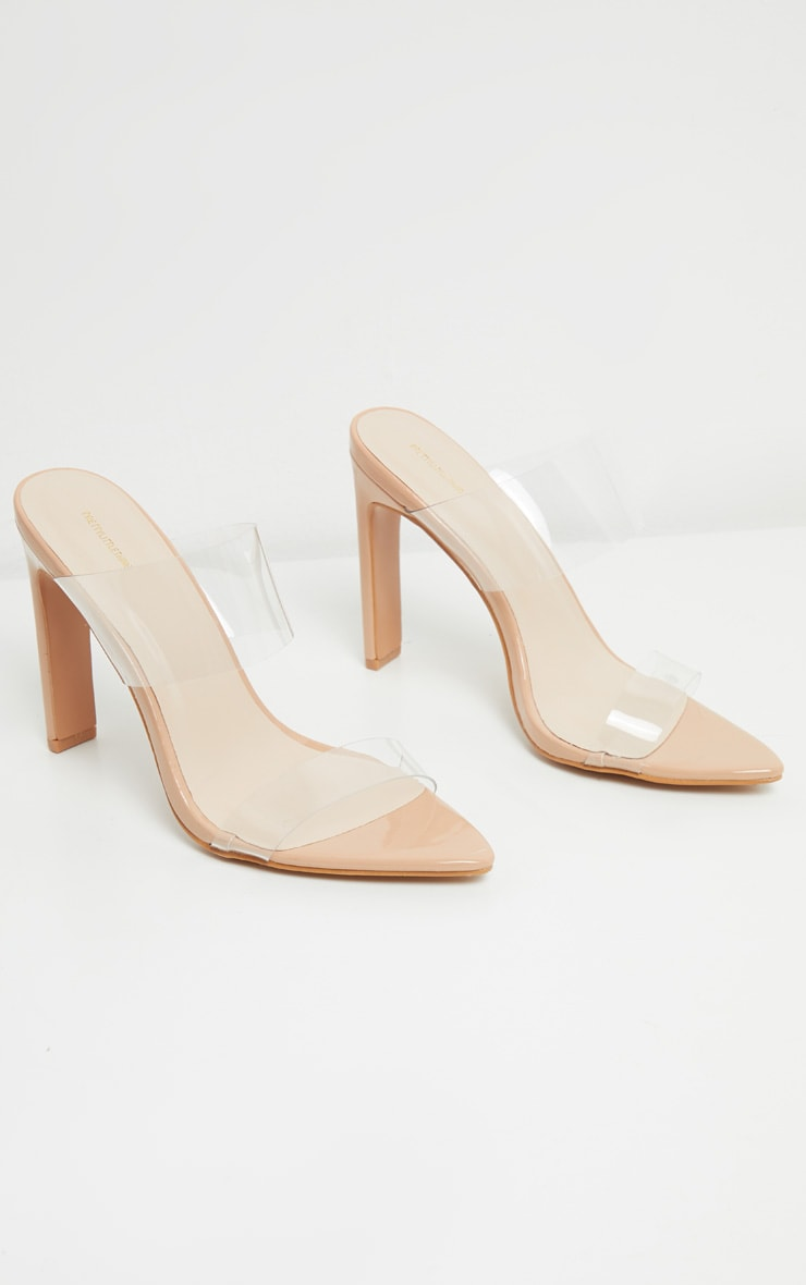 Nude Twin Strap Point Toe Mule Sandal 3