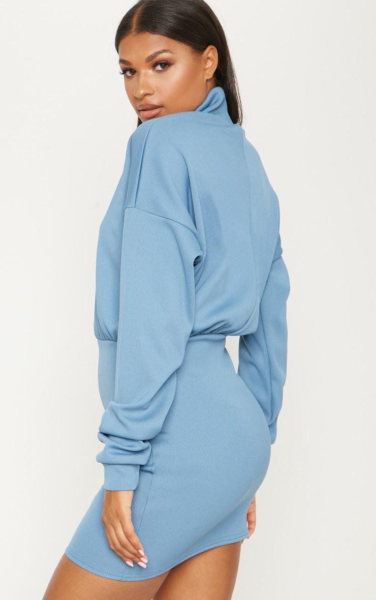 Blue Rib Zip Front Bodycon Jumper Dress 2