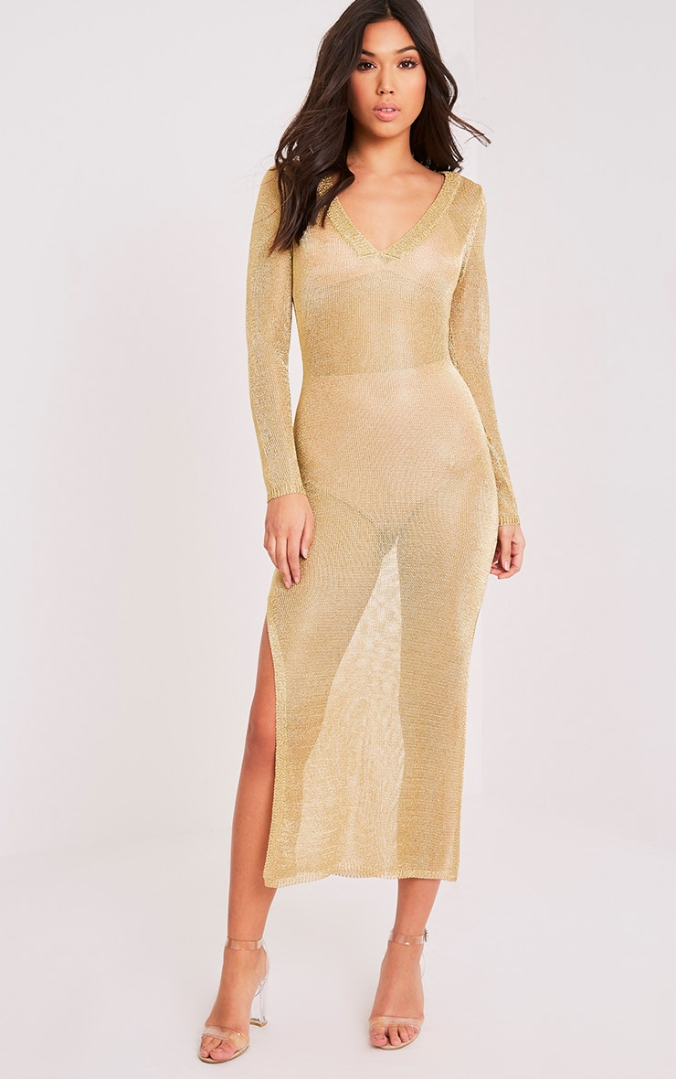 Audriane Gold Metallic Knitted Split Midi 1