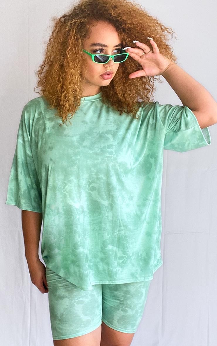 Plus Green Tie Dye Oversized T-Shirt 1