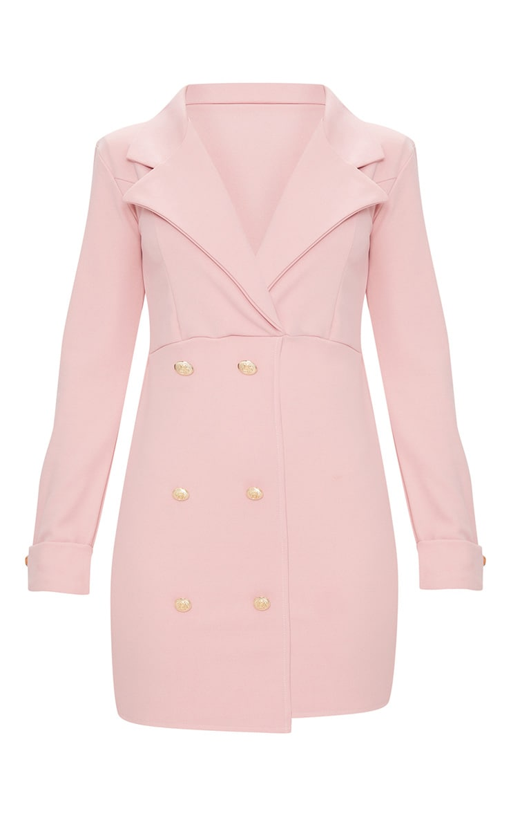 Dusty Pink Gold Button Detail Blazer Dress 3