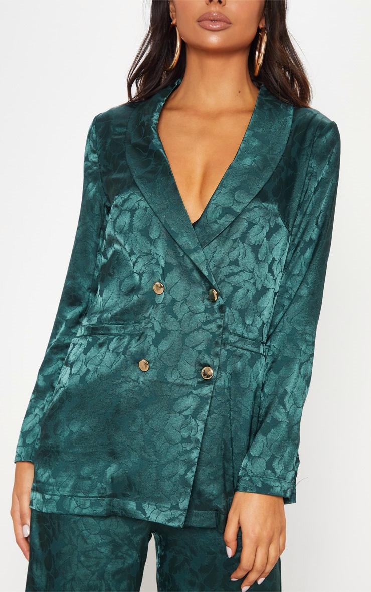 Emerald Green Floral Print Satin Blazer  5