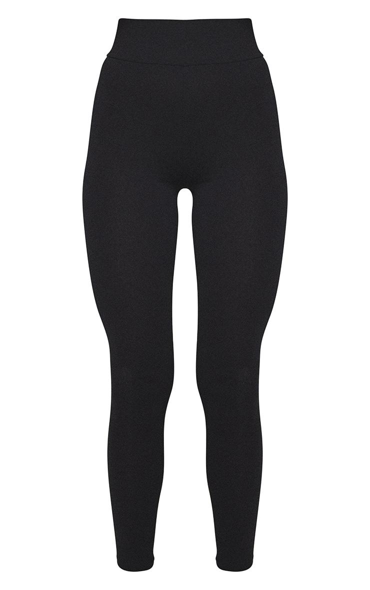 Basic Black Cotton Blend Jersey High Waisted Leggings 5