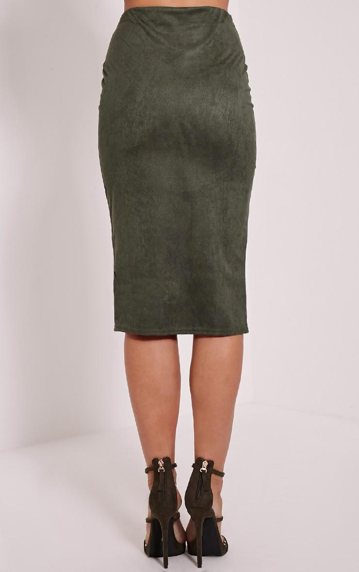 Aggie Khaki Suede Midi Skirt 5