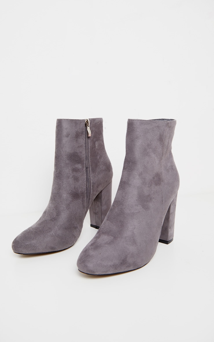 Grey Faux Suede Ankle Boots 3