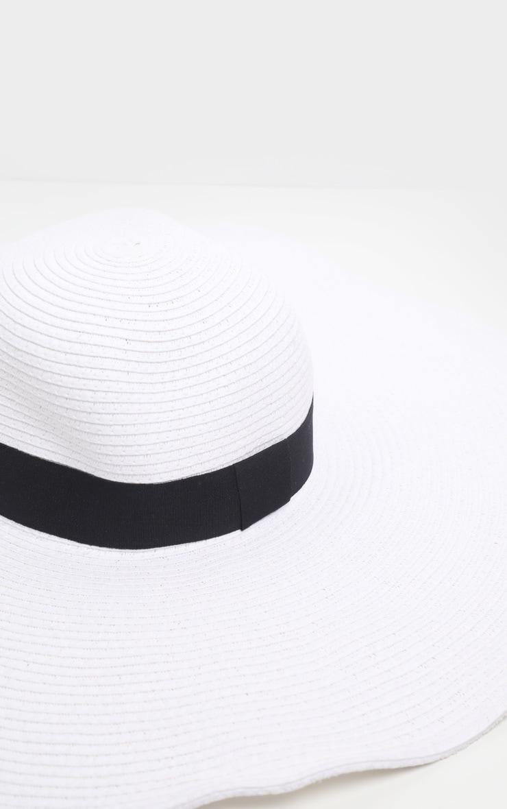 White Large Ribbon Detail Sun Hat 3