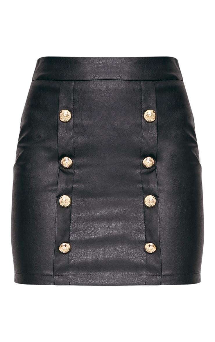 Rexi Black Button PU Mini Skirt 3