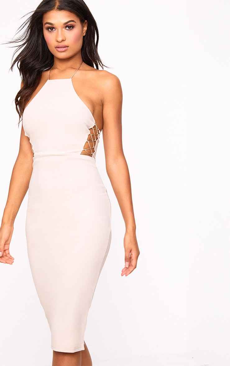 Nude Lace Side High neck Bodycon Dress 1