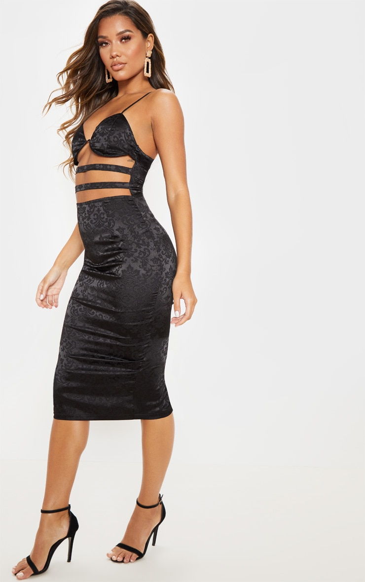 Black Satin Printed Cut Out Midi Dress  3
