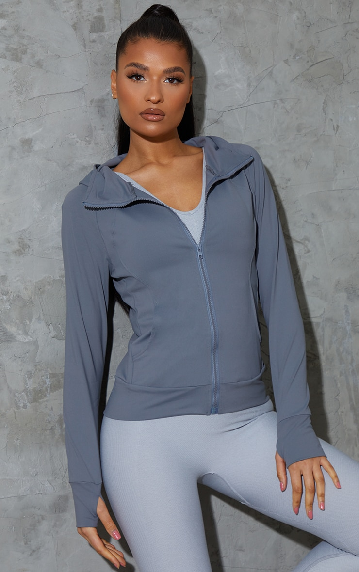 Grey Marl Brushed Luxe Zip Up Sports Jacket 1