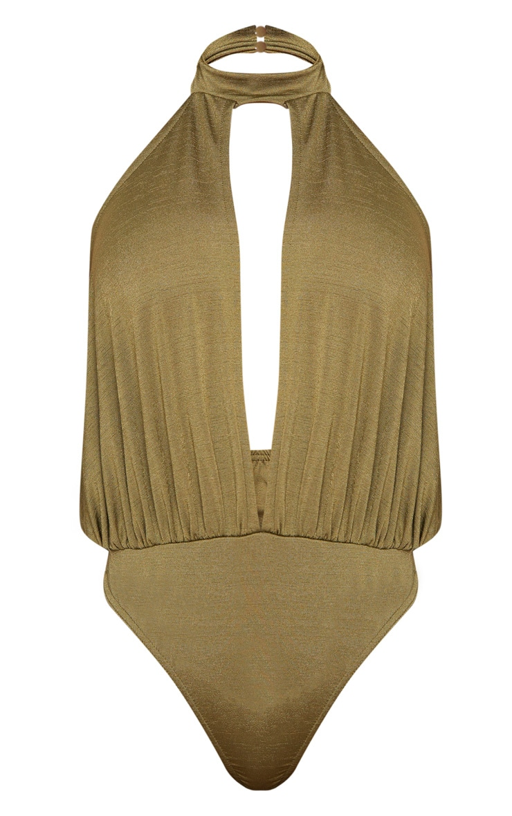 Shape Khaki Slinky High Neck Cut Out Bodysuit 3