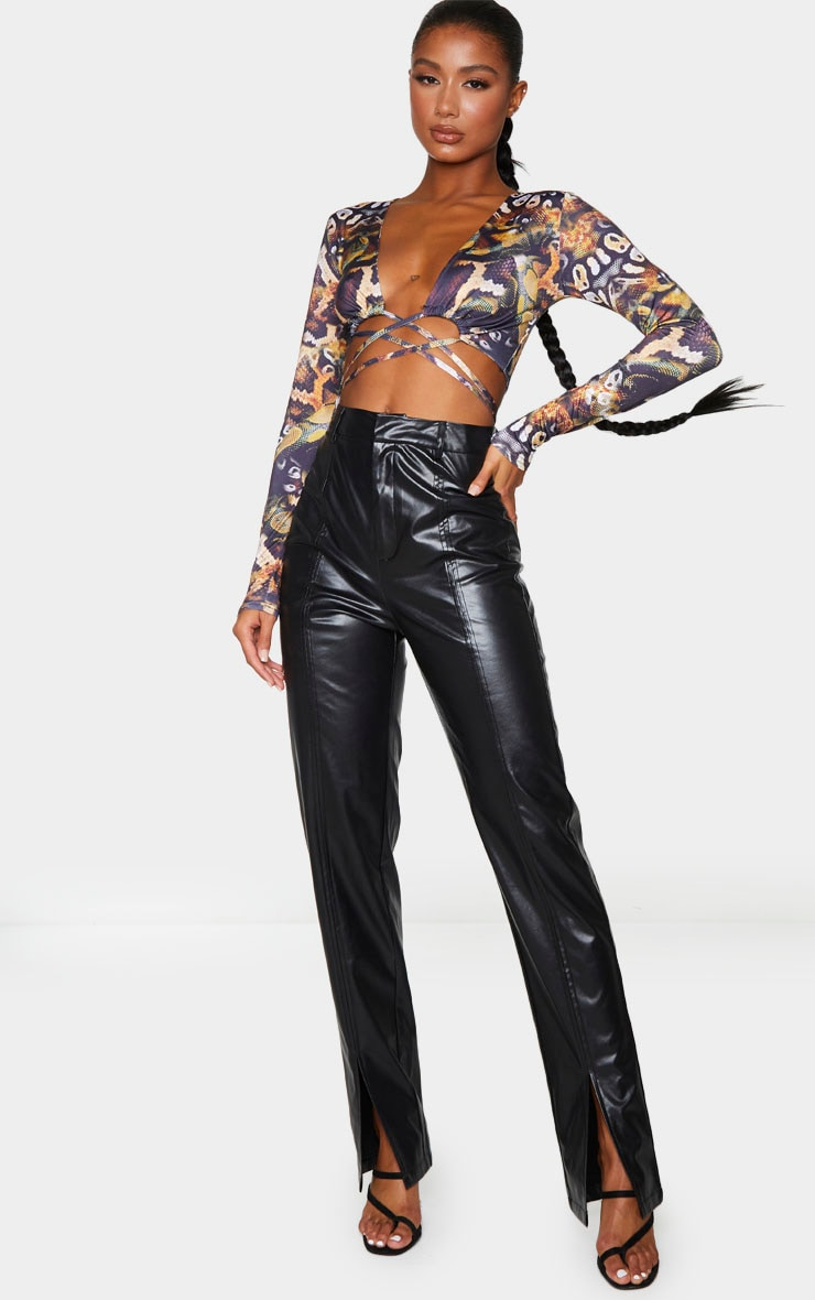 Black Tie Wrap Soft Touch Around Print Long Sleeve Crop Top 3