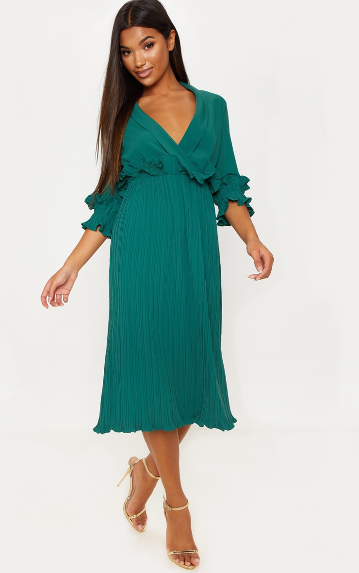 Emerald Green Frill Detail Pleated Midi Dress 4